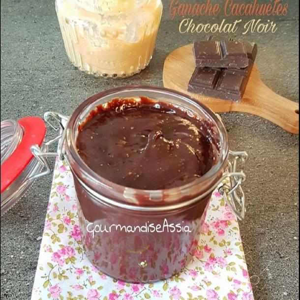 Ganache aux Cacahuètes et Chocolat Noir