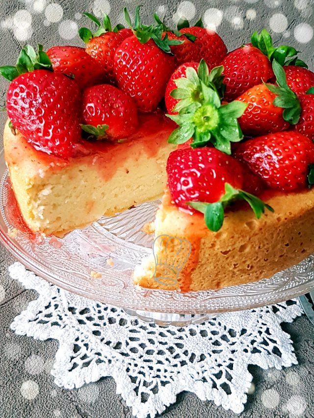 Gâteau au Fromage Blanc et Blanc d'Oeuf aux Fraises