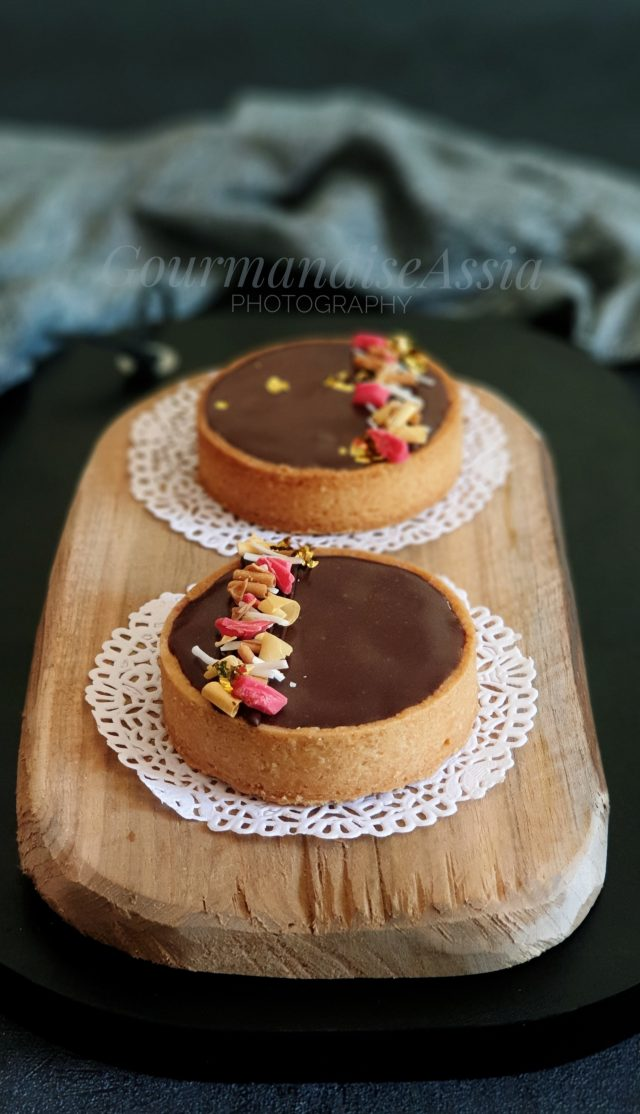 Tarte Chocolat Caramel Amande et Framboise