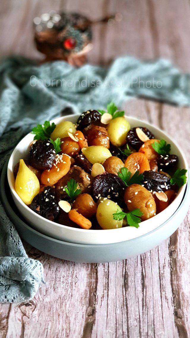 Tajine aux Oignons Abricots Marrons et Pruneaux