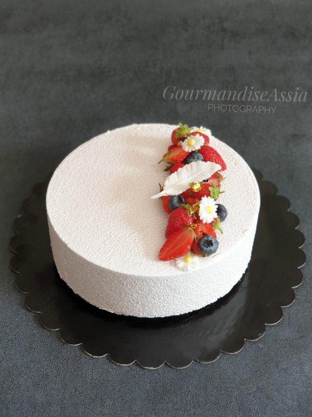 Entremets chocolat blanc Praliné et framboise