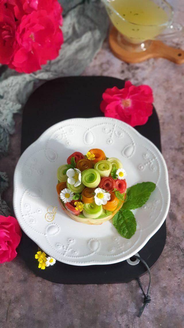 Salade de Concombre en Rosaces